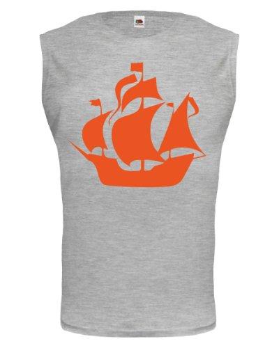 buXsbaum® Tank Top Segelschiff Heathergrey-Orange