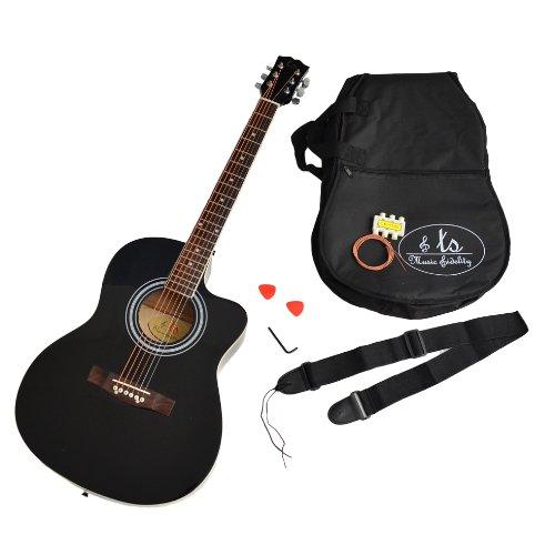 ts-ideen 4/4 Akustik Gitarre Westerngitarre Schwarz Zubehör gepolstete Tasche Gurt Ersatzsaiten