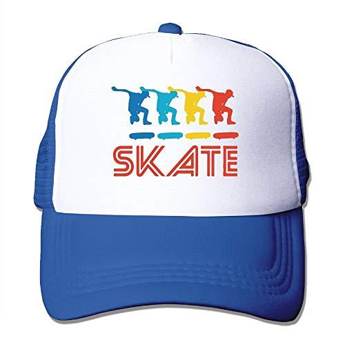 KKAIYA Skater Retro Pop Art Skateboarding Graphic Skate Mesh Trucker Caps/Hats Adjustable for Unisex Black 82-mm-snap