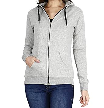 Prokick Women's Cotton Sweatshirt/Hoodie (Light Grey ,Small)