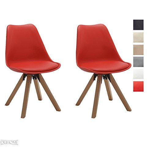Stuhl Esszimmerstühle Küchenstühle !2 er Set! in ROT Küchenstuhl mit Holzbeine Sitzkissen TYP9-518M Esszimmerstuhl RETRO Küchenstuhl Farbauswahl