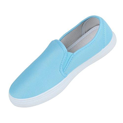 Damen Slip-ons Glitzer Sneakers Helle Sohle Slipper Metallic Hellblau Stoff