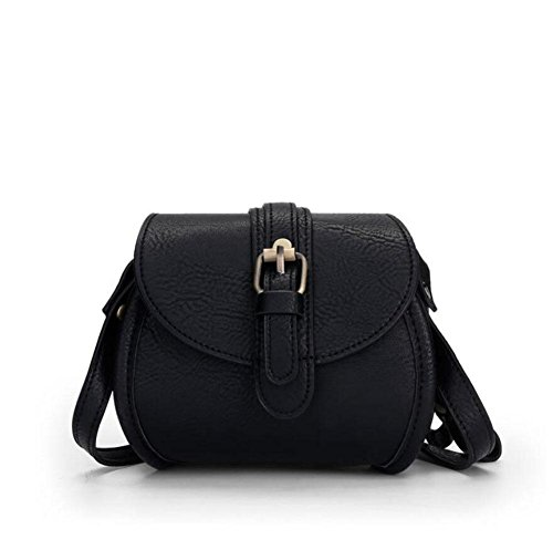 LDMB Damen-handtaschen PU-lederner einfacher leichter Frauen-Schulter-Kurier-Beutel-einfarbige justierbare Taschen-Tasche Crossbody Beutel Black