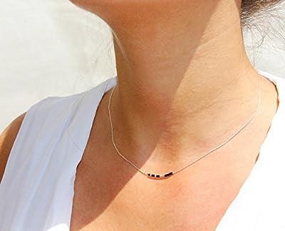 Collier fin choker, chaine serpent argent massif 925, et perles miyuki noir et argenté, bijoux fin minimaliste élégant