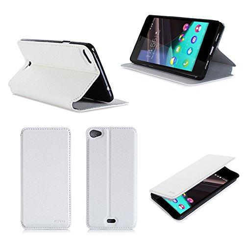 3g Flip Folio (Wiko Pulp 3G / 4G Tasche Leder Hülle weiß Cover mit Stand - Zubehör Etui Wiko Pulp 3G / 4G Flip Case Schutzhülle (PU Leder, Handytasche weiss) - XEPTIO accessories)
