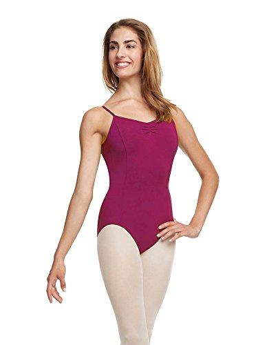 Dance Connexxion Balletttrikot Tanztrikot für Damen mit Spaghettiträgern und Brustraffung in verschiedenen Farben (Bright Mulberry, 38 (Medium))