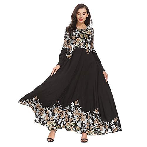 RYTEJFES Muslimische Kleidung Damen Moslemischer Loser Normallack-Kleidungs-Kleid der Frauen Abaya islamischer arabischer KaftanEid al-Fitr Konservativen Stil Damen Langes Abendkleider - T-shirt-kleid Schlitzen Mit