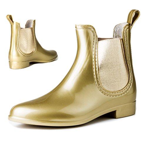Damen Schlupf Gummistiefel Chelsea Boots Lack Stiefeletten Gold