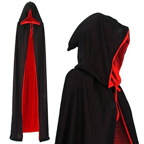 Vampir Umhang Vampire Wendeumhang mit Kapuze schwarz rot Cape 170cm lang Kapuzenumhang für Erwachsene Halloween Kostüm Dracula Mantel