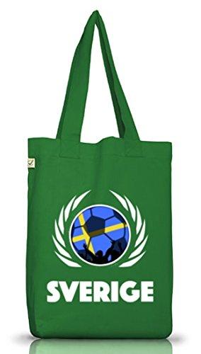 Sverige Sweden Fussball WM Fanfest Gruppen Jutebeutel Stoffbeutel Earth Positive Fußball Schweden Moss Green