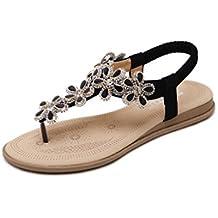 8f0e99012319 Supshark--Femmes Bohème Plates Sandales Perlées Fleur Strass Clip Toe  Élastique Dos Sangle Sandales