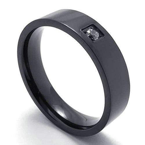 Adisaer Edelstahl Ring Herren Schwarz Einfach Design Hoch Poliert mit Zirkonia Ringe Für Männer Punk Größe 52 (16.6)