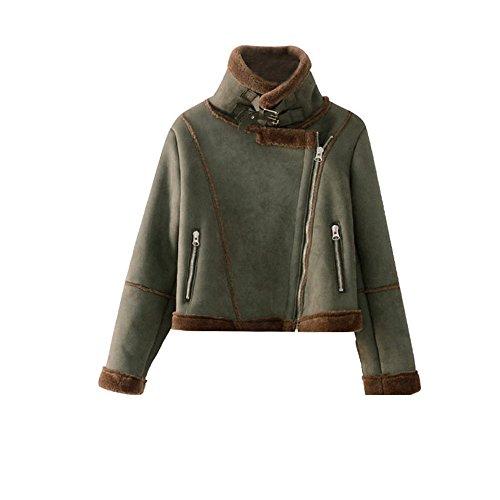 Manteau en peau dhiver femme veste courte, dune épaisseur de @ (40) The green