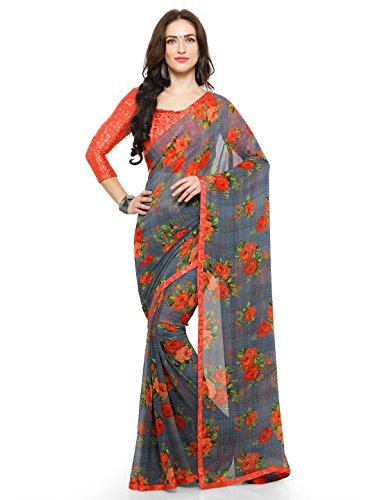 Vaamsi Georgette Printed Saree With Border (Tiara1008_Orange_6.3 m length)