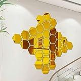 Beilinheng 12 Pezzi/Pacco Esagonale Home Decor Wall Stickers 3D Fai da Te Specchio Acrilico Wall Art Sticker Soggiorno Decorazione Domestica Sfondo Impermeabile 28x32 inch
