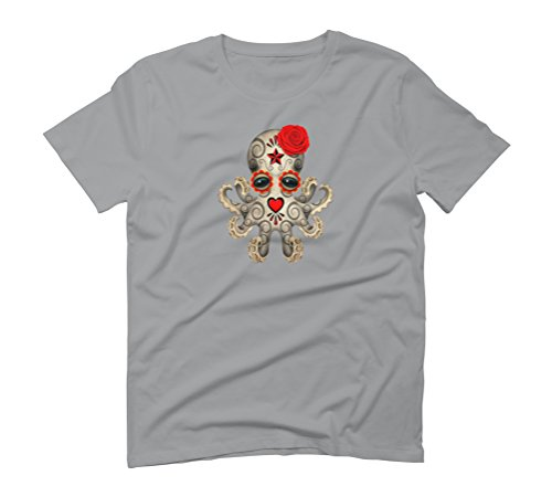 Day of the Dead Sugar Skull Baby Octopus Men's Graphic T-Shirt - Design By Humans Opal