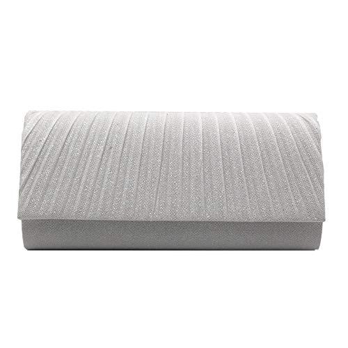 The only good quality Europäische und amerikanische blinkende Silk Satinabendkleid-Parteihand, die Abendgeschenkbeutelgoldschwarz-Weißgröße hält: 23 * 11 * 5cm (Farbe : White) -