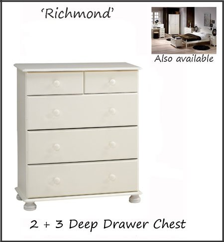 Pine Richmond Five Drawer Chest of Deep Drawers Bedroom Storage - White