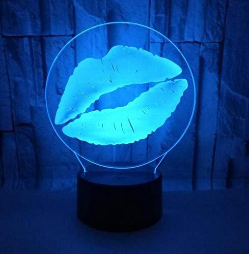 QiXian Nachtlicht Wandleuchte Led Lampe Lip Vision Touch 3D Kleines Nachtlicht Fernbedienung Bunte USB 3D Kleine Tisch 3D Lampe Weiße Basis Schöne 7 Farbwechsel für Küche Schlafzimmer Wohnzimmer -