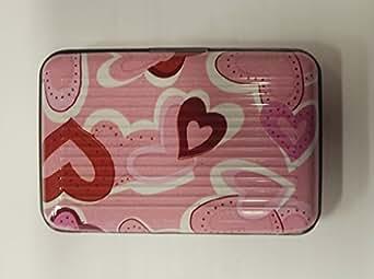 Deluxe Aluma Wallet Credit Card Holder Aluminum Case Box Pink Heart Print Case