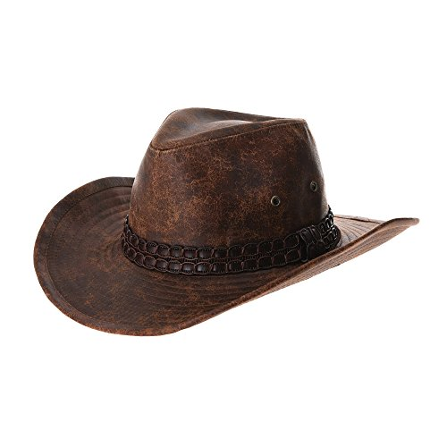 WITHMOONS Cowboy Cappello a tesa larga Indiana Jones Hat Weathered Faux  Leather Outback Hat GN8749 ( 4e67d1ea2757