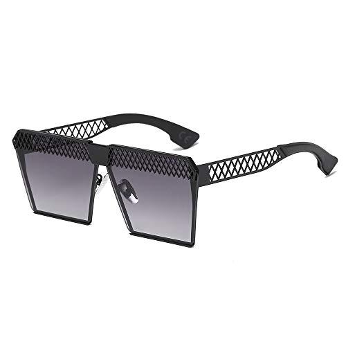 AMZTM Polarisierte Sonnenbrille für Damen Mode Hohle Design Quadratischer Metallrahmen Brille Übergroße Flache Brille (Schwarz Rahmen Grau Verfärben Linse)