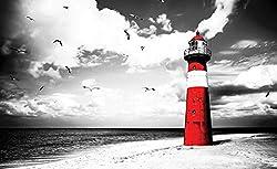 Forwall Fototapete Vlies Tapete Wandtapete Leuchtturm Strand - Meer Wasser Sand Landschaft Natur Moderne Wand Dekoration Wandbild 2026VEXL 208cm x 146cm Schlafzimmer Wohnzimmer