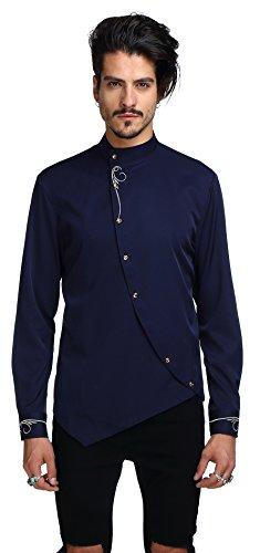 Whatlees camicia con design ricamato ed asimmetrico casual uomo