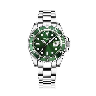 Blenheim London® Reloj Navigator Luminous de hombre, Cristal de Zafiro, Resistente al Agua, Esfera Verde.
