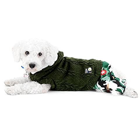 SMALLLEE_LUCKY_STORE Pet Dog Sweater Hoodie Puppy Knitwear For Small Dog Chihuahua Hooded Jumpsuit with Camo Pants Boy Doggy Outfits Green