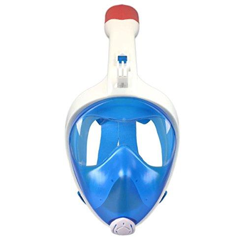 [Neue Version] VILISUN -Tauchmaske Erwachsene, 180° Panoramablickfeld Vollmaske für GoPro Kamera, Anti-Fog Anti-Leck Schnorchelmaske, Taucherbrille für Erwachsene, Damen und Herren (blau, L/XL)