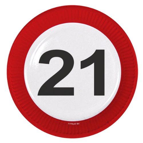 Folat Traffic, Party Geburtstag Teller 23cm (8Stück)?21. Geburtstag Preisvergleich
