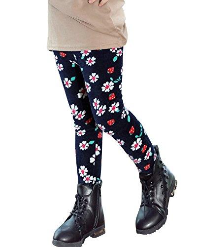 Mädchen Warm Thermo Flower Leggings Leggins Winter Kinder Marine 6 130
