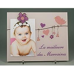 (KdLMrMeil) Cadre Photo pour Marraine - (Cadeaux originaux pour Parrain Marraine - Baptême, Anniversaire, Noël.)