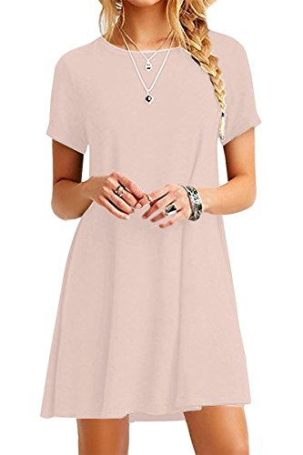 Mini Print Tunika (YMING Damen Frühling Sommer Kleid Casual Kurzarm Tunika Rundhals Basic Blusenkeid Mini,Kaki,S / DE 36)