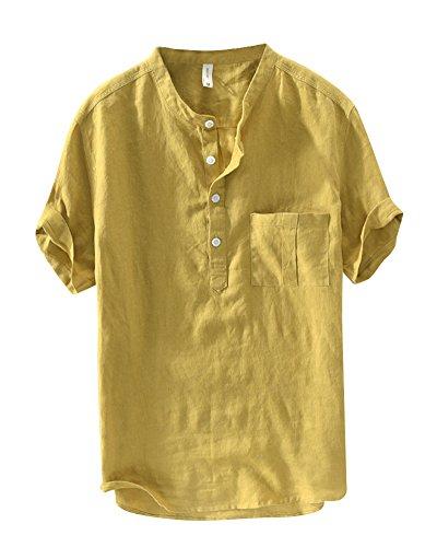Uomo camicia in lino elegante slim fit maniche corte senza collo pullover tops giallo xl