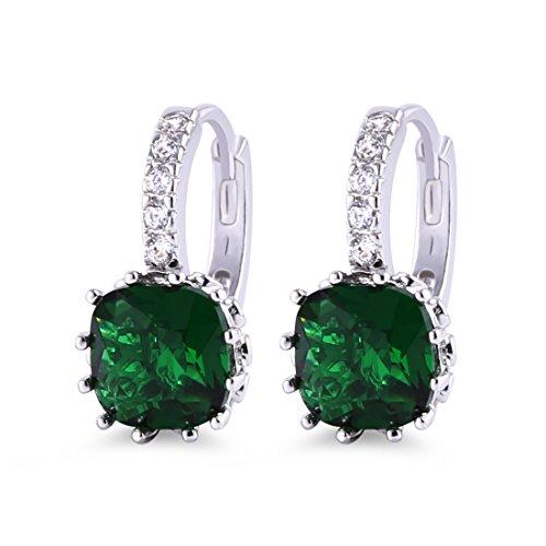 GULICX - joyería para mujer: pendientes de aro generosos para orejas perforadas de color verde esmeralda con circonitas cúbicas.
