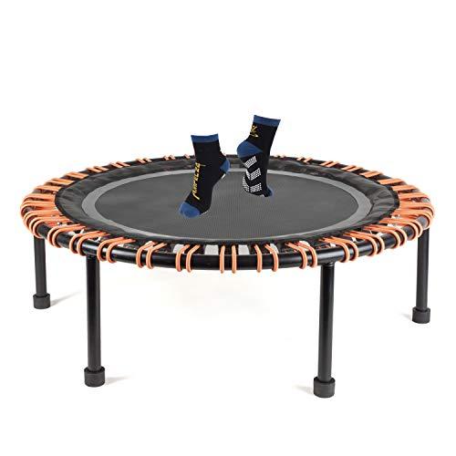 Ampel 24 Minitrampolin Ø 110 cm, Indoor Fitness Trampolin mit Bungee-Seil-System, 72 verstellbare Elastobänder für den Härtegrad, belastbar bis 150 kg