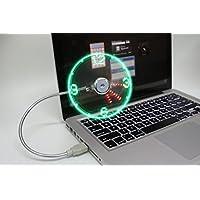 CFZC Flexibler, kühlender Ventilator mit Mini-USB-Anschluss, LED, Blinklicht, Uhr mit Echtzeit-Anzeigefunktion, für den Schreibtisch zu Hause, auf Reisen und draußen