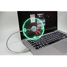 cfzc Flexible Mini USB Powered LED intermitente tiempo real reloj de función de pantalla ventilador de refrigeración para casa escritorio de viaje y al aire libre