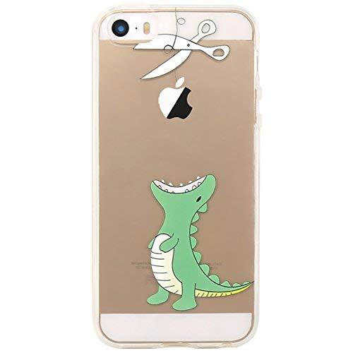 JIAXIUFEN Neue Modelle TPU Silikon Schutz Handy Hülle Case Tasche Etui Bumper für Apple iPhone 5 5S SE - Hungrigen Krokodil