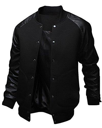 Uomo College Baseball Jacket Giubbotto Felpa PU Cuciture in Pelle Nero M