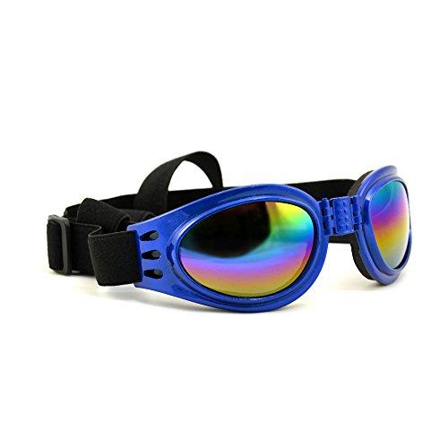 4yourpet 3766 Sonnenbrille aus Kunststoff für Hunde, Gläser regenbogen verspiegelt (Blau)