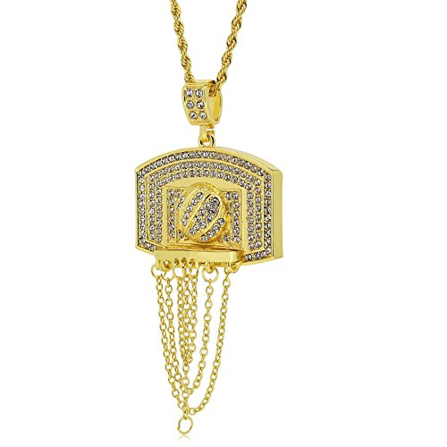 The Bling King vergoldet Basketball Board & Hoop Anhänger HIP HOP BLING Seil Kette Halskette