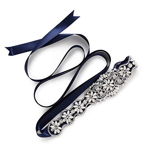 Sweetv squisito fascia cristallo rhinestones cintura abito da sposa accessori cintura selvaggio strass matrimonio 220cm*2cm, blu