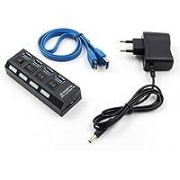 Bescita 4-Port USB 3.0 Hub Ein/aus-Schalter und Netzteil Kabel für PC Laptop-Computer-Schwarz