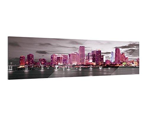 Klebefieber Glasbild Pink Skyline B x H: 120cm x 40cm