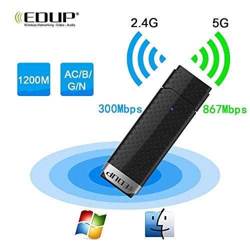 Tang WiFi Adapter, WLAN Stick 1200 Mbit/s Dualband (5.8GHz 867Mbps/2.4Ghz 300Mbps) Wireless WiFi Dongle USB 3.0 für Desktop/PC/Laptop/Notebook/Win XP/10/8/7/Vister/Mac
