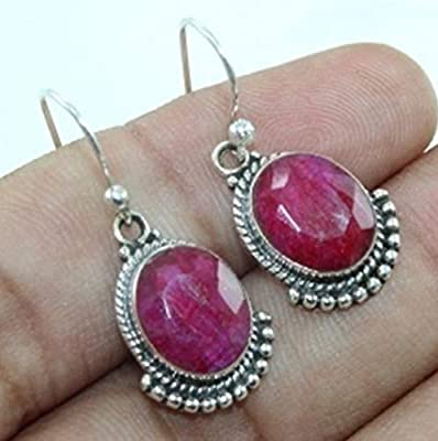 Kanika Jewelry Trove Ruby Gemstone 925 Sterling Silver Bridal Earrings for Womens Gift