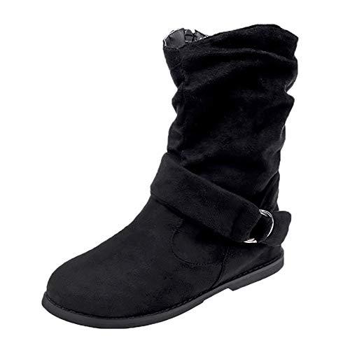 Stiefel Damen, LANSKIRT Frauen Schlupfstiefel Unsichtbarer High-Heel Stiefel Boots Rutschfest Winterstiefel Elegant Schuhe Cowboy Western Stiefel Boots Flache Schlupfstiefel Schuhe - Cowboy-heels